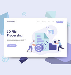 Landing page template of 3d file document vector