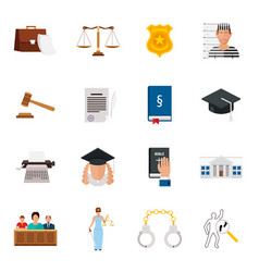 Law icon flat set with lawyer jail court jury vector