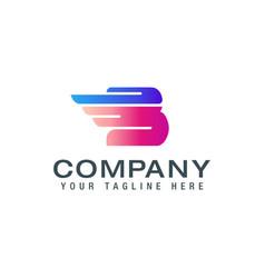Letter b logo wing alphabet logotype logo design vector