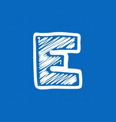 Letter e logo on blueprint paper background vector