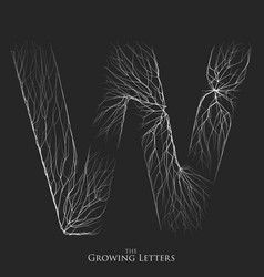Letter w of branch or cracked alphabet w vector