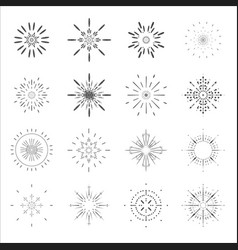 lineart sun radiant sunburst icons design set vector image