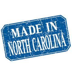 Made in north carolina blue square grunge stamp vector