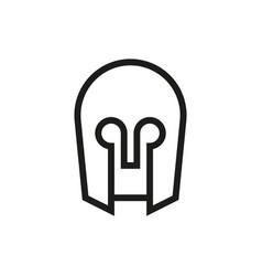 medieval helmet icon on white background vector image