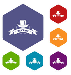 Modern hat icons hexahedron vector