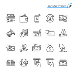 Money line icons editable stroke vector