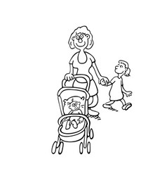 mothers parenting mothers push baby outlined vector image