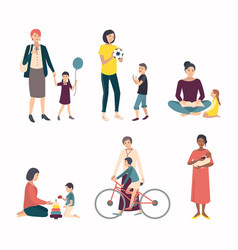 Mothers with children baby set with various vector