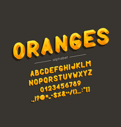 oranges font and alphabet type with vector image