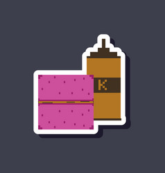 Paper sticker on stylish background burger and vector