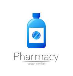 Pharmacy symbol with blue bottle and pill vector