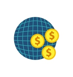 Planet sphere with business icon vector