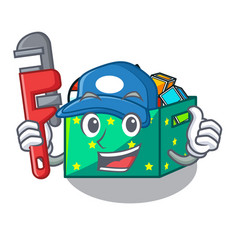 Plumber children toy boxes isolated on mascot vector