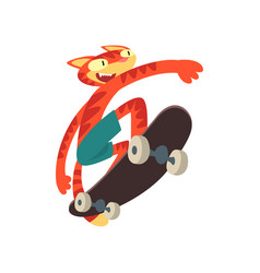 red cat riding skateboard funny animal character vector image