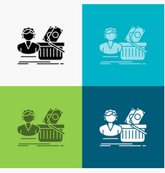 salary shopping basket shopping female icon over vector image