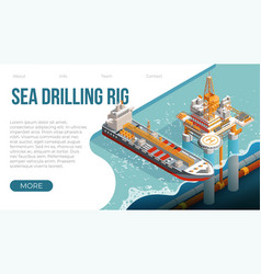 sea drilling rig platform for gas and petroleum vector image