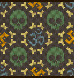 Seamless knitted pattern with sacred hinduism vector