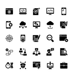 seo and web solid icons pack vector image