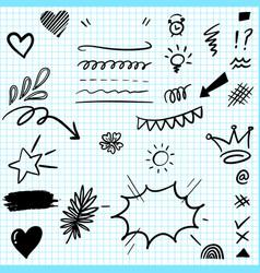 set hand drawn design elements vector image