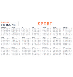 Set linear icons sport vector