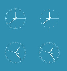 Set of 4 modern watches white round dials on blue vector image