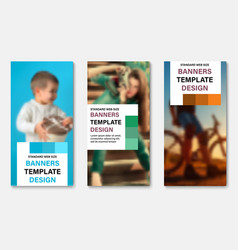 set of vertical web banners with place for photo vector image