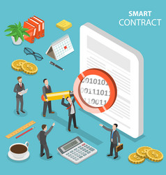 smart contract flat isometric concept vector image
