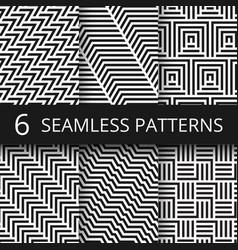 Striped geometric seamless patterns set vector