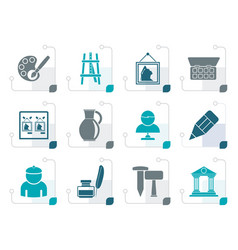 Stylized fine art objects icons vector