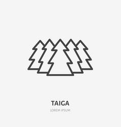 taiga flat line icon thin sign siberian vector image