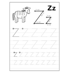 Tracing alphabet letter z black and white vector