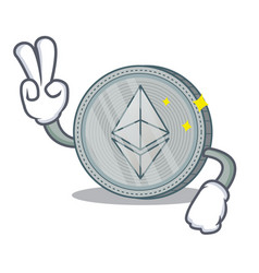 Two finger ethereum coin character cartoon vector