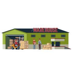 Warehouse flat building logistic transportation vector