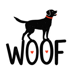 with dog red hearts and lettering word wocute vector image