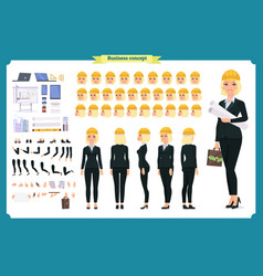 Woman architect in business suit and helmet vector