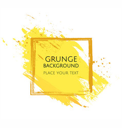 yellow hand paint artistic dry brush stroke grunge vector image