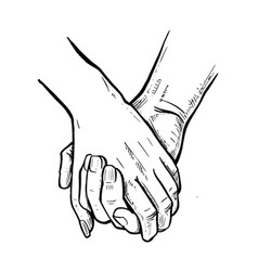 young loving couple holding hands vector image