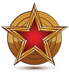 Glamorous template with pentagonal red star symbol vector