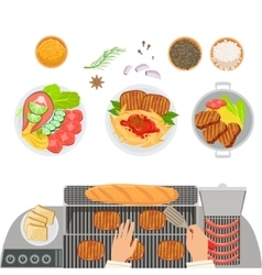 Stove Cooked Dishes Spices And Hands Of The Cook vector image