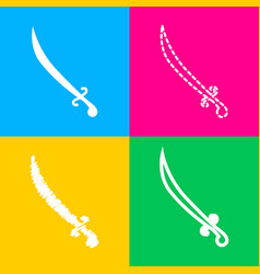 sword sign four styles of icon on vector image vector image