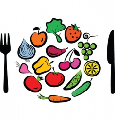 vegetables plate vector image vector image