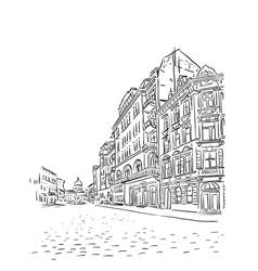 Antique European street sketch vector image