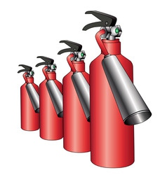 group of red fire extinguishers vector image vector image