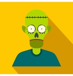 Zombie flat icon with shadow vector image vector image