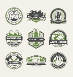 adventure outdoor vintage isolated label set vector image vector image
