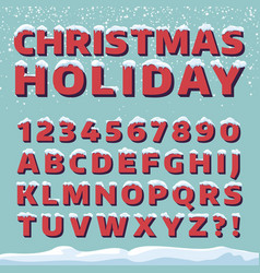 christmas holiday font retro 3d letters vector image vector image