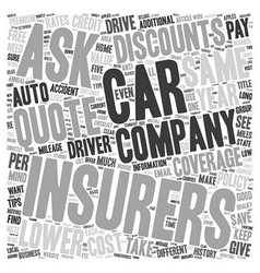 How to Save on Car Insurance text background vector image