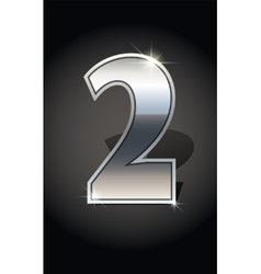 Silver numbers set vector image