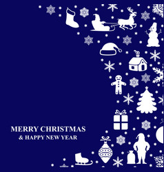 christmas congratulatory card on blue background vector image