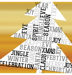Christmas Tree Golden Greeting Card Happy Merry vector image vector image